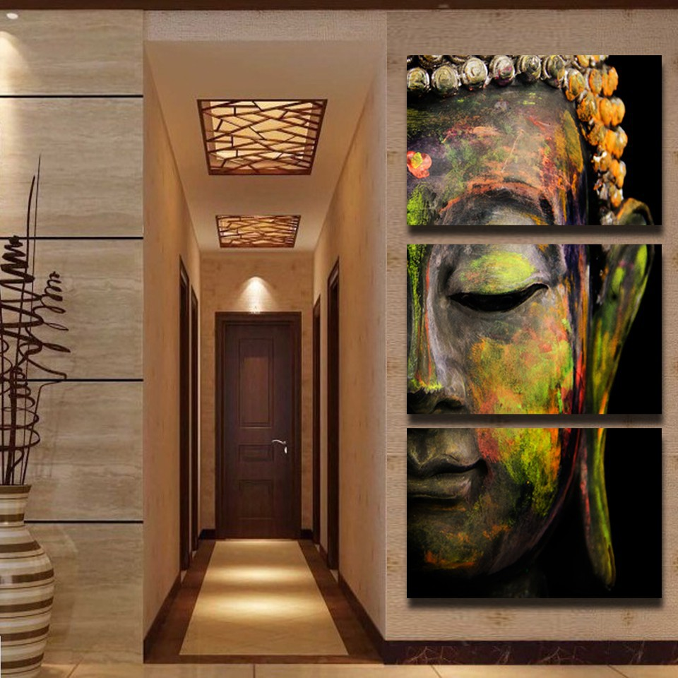 HD Printed 3 Piece Canvas Art Modular Painting Buddha For The Hall Wall Picture Living Room QT017 In Calligraphy From