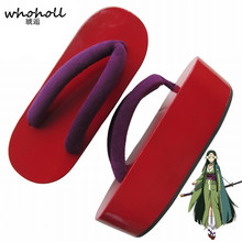 WHOHOLL Cosplay Geta Sword Art Online Sakuya Wooden Clogs Cosplay Red Lacquer Boat Thick Bottom Wooden Clogs Comiket Coser Shoes clogs dogo clogs page 7