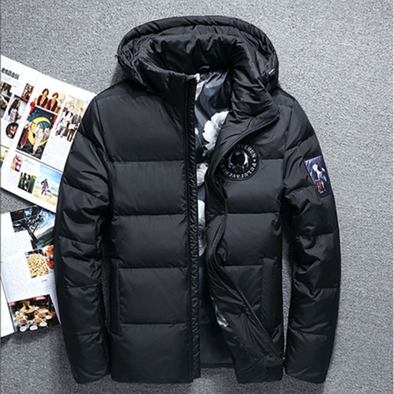 New 2017 winter men's fashion white duck down jacket short section thick hooded leisure men's Solid Colors jackets male coats 2017 europe and the united states winter new style white duck down parkas thick in the long hooded quilt down jacket women