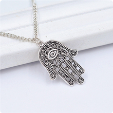 Good Luck Protection Hamsa Symbol Fatima Hand Evil Eye Pendant Chain Necklace Retro Fashion Necklace  Hand Hollow Rope Chain