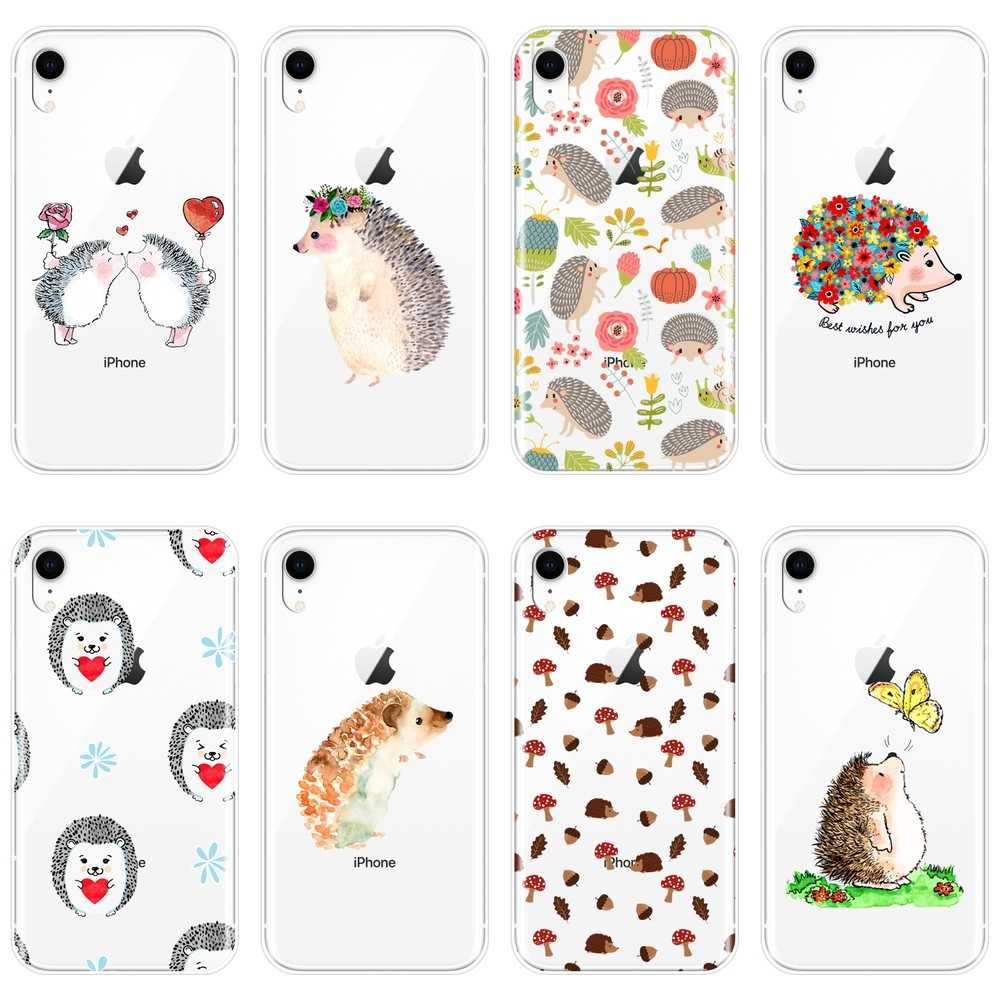 Caixa Do Telefone Do Silicone Para o iphone X XR XS MAX 8 7 6 6 S S Kawaii Amor Do Coração Bonito do Ouriço tampa Traseira macia Para iPhone 8 7 6 6 S S Plus