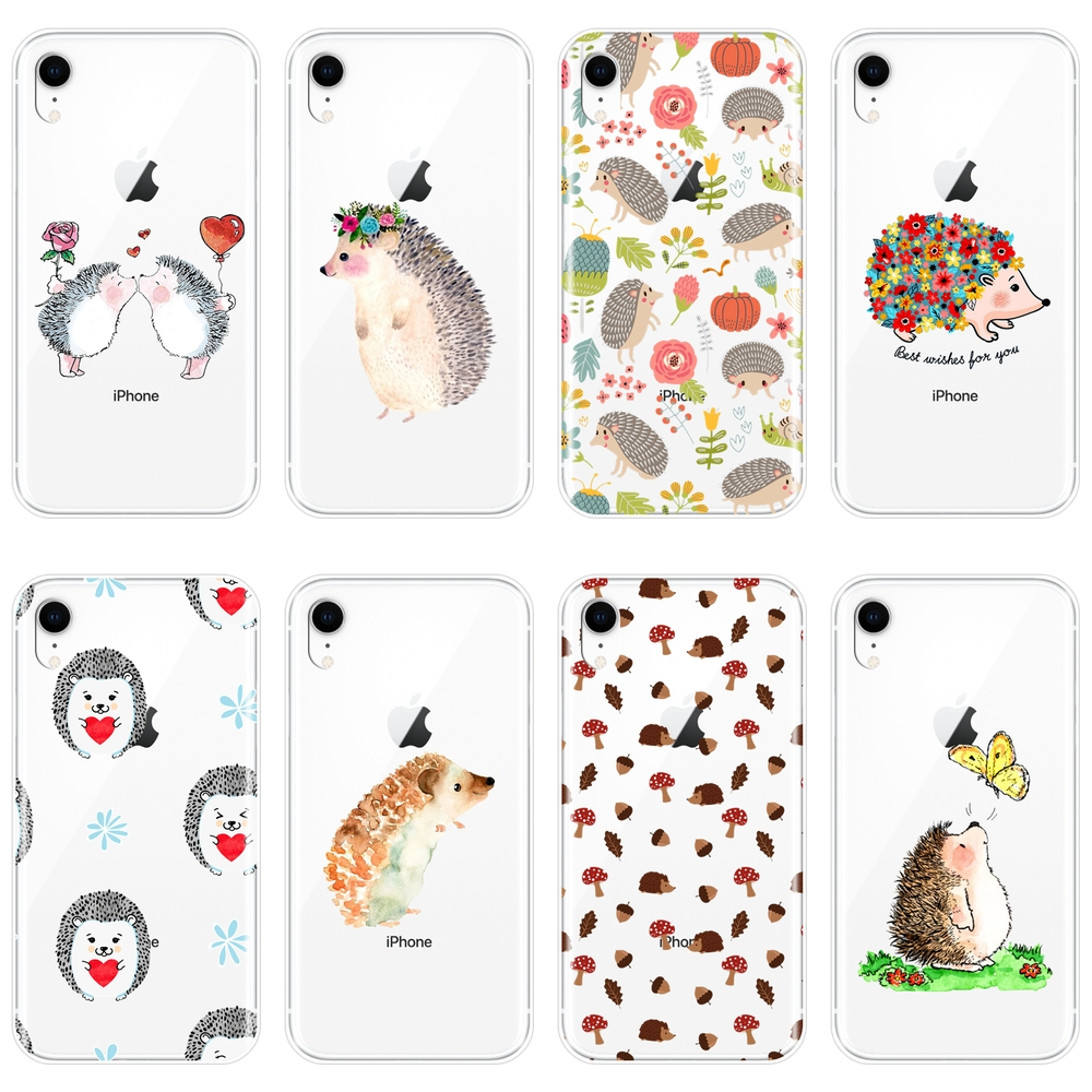 Silicone <font><b>Phone</b></font> <font><b>Case</b></font> For <font><b>iPhone</b></font> X XR XS MAX 8 <font><b>7</b></font> 6S 6 S <font><b>Kawaii</b></font> Hedgehog Heart Love Cute Soft Back Cover For <font><b>iPhone</b></font> 8 <font><b>7</b></font> 6S 6 S Plus image