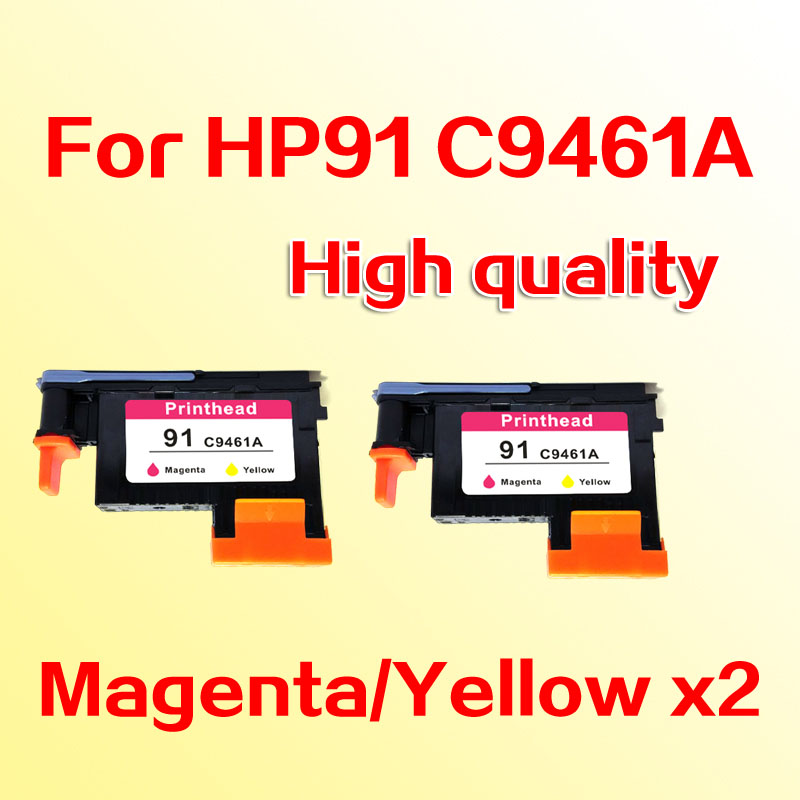 все цены на 2pcs printheads for hp91 C9461A M/Y printhead for hp 91 Designjet  Z6100 Z6100P 6100 онлайн