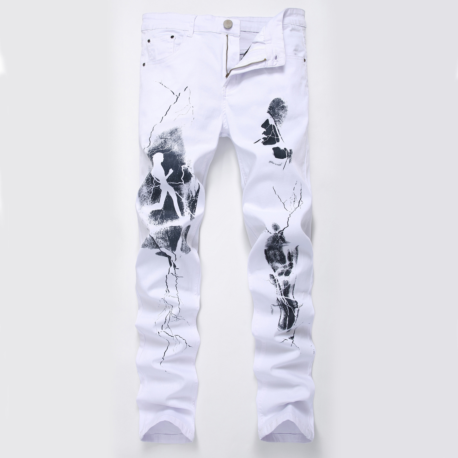 Fashion Painted Denim Slim Fit White Jeans Men Hip Hop Elastic Casual Cowboys Pants Mens Printing Streetwear Jean Trousers