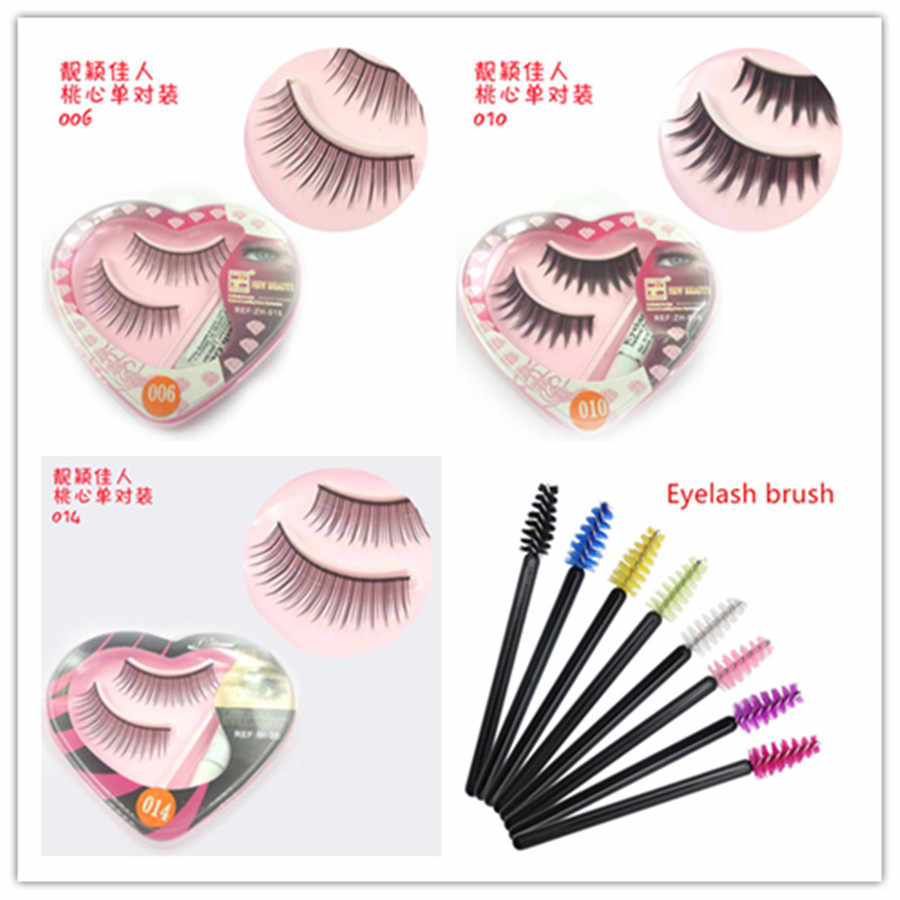 Nuevo 1 par de pestañas postizas de corazón de melocotón de Corea Natural maquillaje de visón largo pestañas de mano hacer pestañas Kit de maquillaje regalo #009