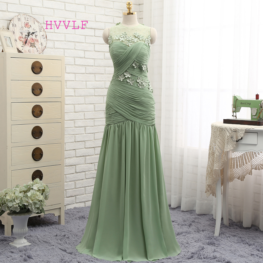 New Backless 2019 Prom Dresses Mermaid Mint Green Chiffon Flowers Elegant Long Prom Gown Evening Dresses Evening Gown