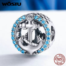 WOSTU New Fashion 925 Sterling Silver Sea Journey Anchor Beads Fit Original WST Charm Bracelet DIY Jewelry Gift FIC148(China)