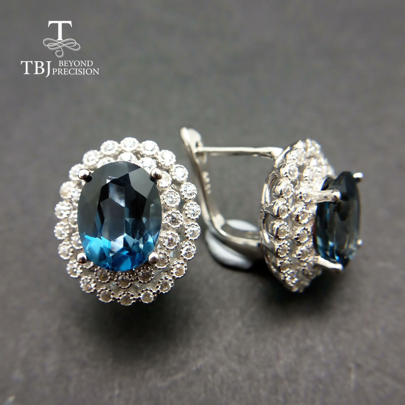 TBJ 2018 Clasp earring with London blue topaz in 925 sterling silver jewelry natural gemstone earring