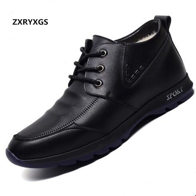 ZXRYXGS Brand Shoes Men Ankle Boots 2018 New Winter Genuine Leather Shoes Boots Warm Wool Snow Boots Leisure Sneakers Men Boots elevator shoes taller 2 56 inch winter genuine leather men boots fashion warm wool ankle boots men snow boots shoes hot sale