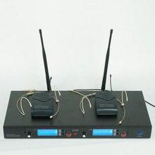 Frete grátis 2 Sistema de Microfone Sem Fio UHF Microfone sem fio duplo Canais Profissional 610 MHz-640 MHz