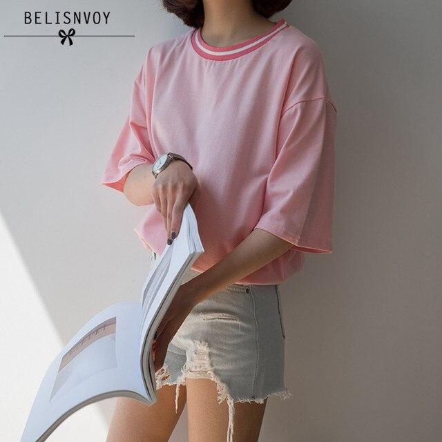 Harajuku Shirt Cropped Shirt Women T-shirt 2018 Plus Size Summer Style Korean Tshirt Pink Rock T-shirt Women Tops Couple Clothes