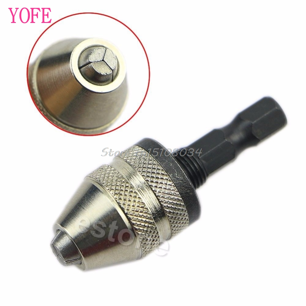 1/4 Keyless Drill Bit Chuck Hex Shank Adapter Converter 0.3mm-3mm Quick Change #S018Y# High Quality