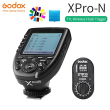 лучшая цена Godox XPro-N Flash Trigger Transmitter with i-TTL II 2.4G Wireless X System HSS LCD Screen + XTR-16 Receiver for Nikon DSLR