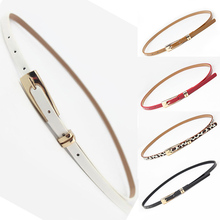 Fashion Women PU Leather Belts Candy Color Thin Skinny Waistband For Dress Jeans Female Casual Metal Buckle Waist Belt