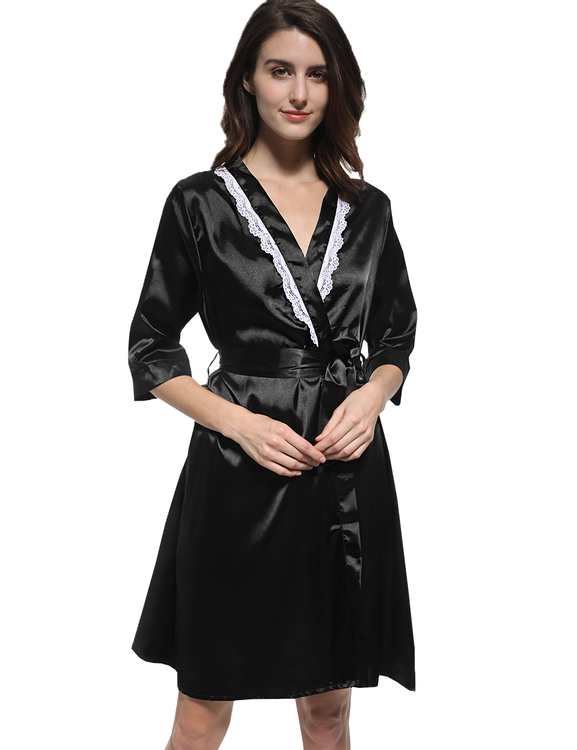 Women Robe Gown Lace Sexy Bathrobe Nightdress Pyjamas Casual Dress Bathing Robes Sleepwear Satin Silk Half Sleeve Homewear 2017