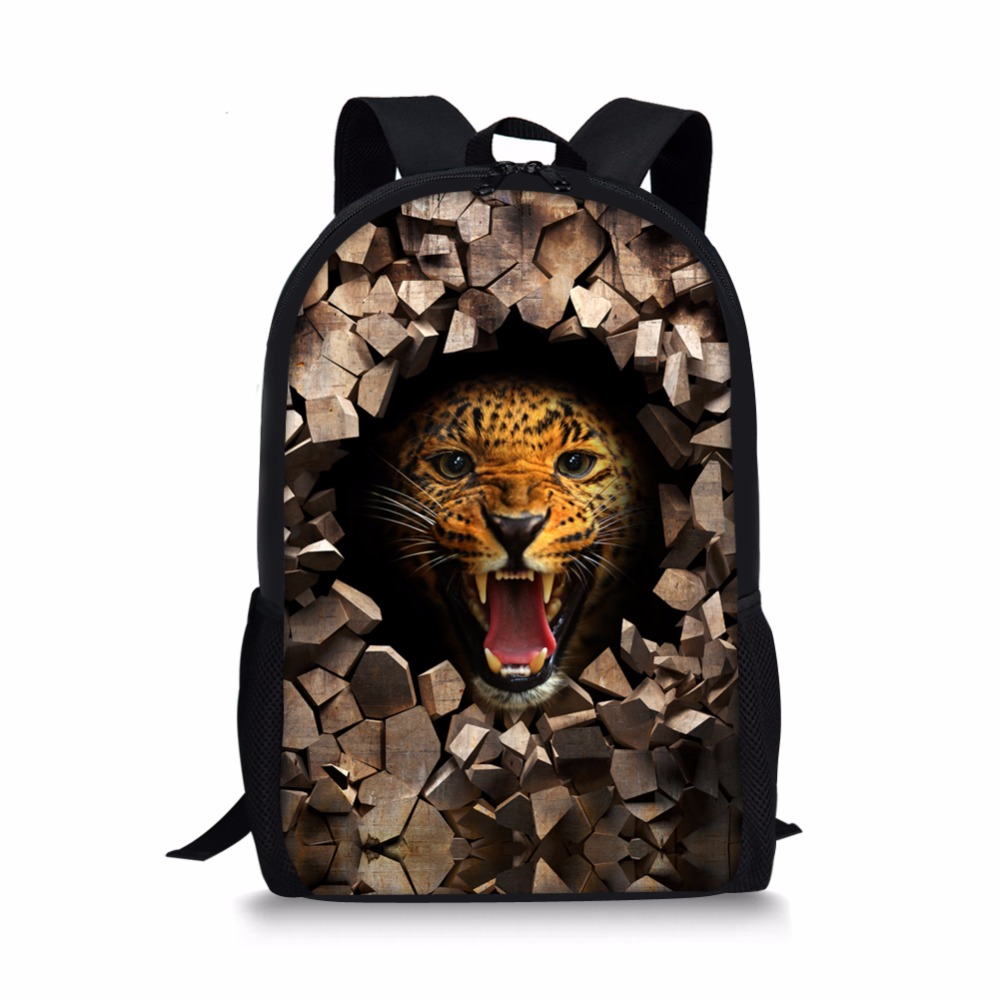 Us 22 99 Awesome Designs School Backpacks Leopard Back Packs For Age Boys Crazy Tiger Bear Vintage Leisure Book In From