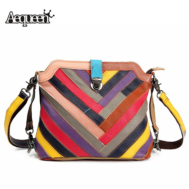 AEQUEEN Genuine Leather Women Shoulder Bags Striped Messenger Bag Multicolor Patchwork Shell Crossbody Handbags vertical striped patchwork expansion maxi dress