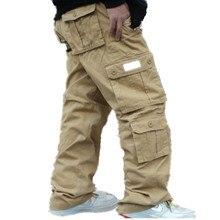 New Casual Big Pockets Cargo Pants Men Cotton Joggers Loose