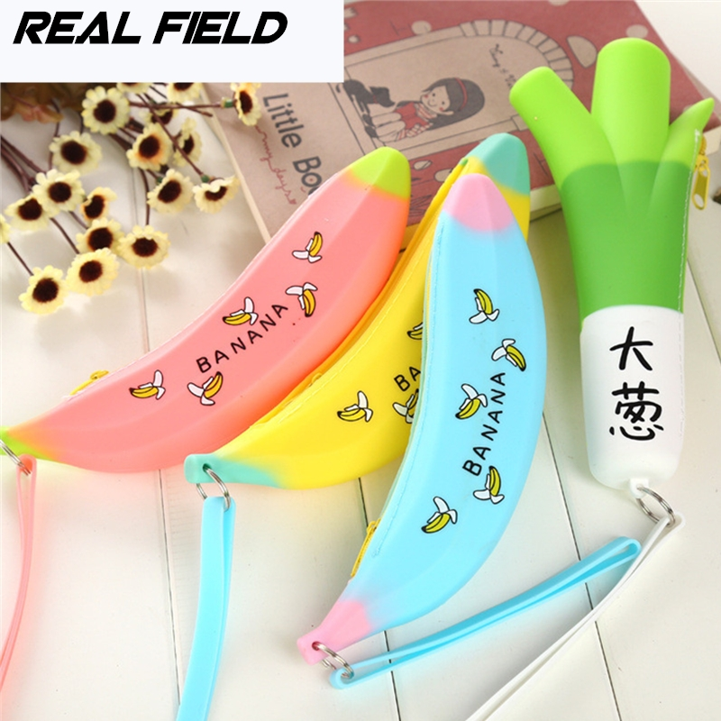 Real Field RF Women Small Wallet Girl Jewelry Purse Children Novelty Silicone Coin Purse Banana Bags Pencil Case Zipper Case 108