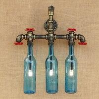 Ретро стимпанк светильник Настенный светильник Ванная комната Декор настенный светильник с G4 огни Стекло тени Спальня прикроватный свет ф