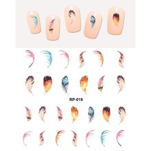 NAIL ART BEAUTY WATER DECAL SLIDER NAIL STICKER BIRD PEACOCK FEATHER HAIR INDIAN TASSEL RP019-024(China)