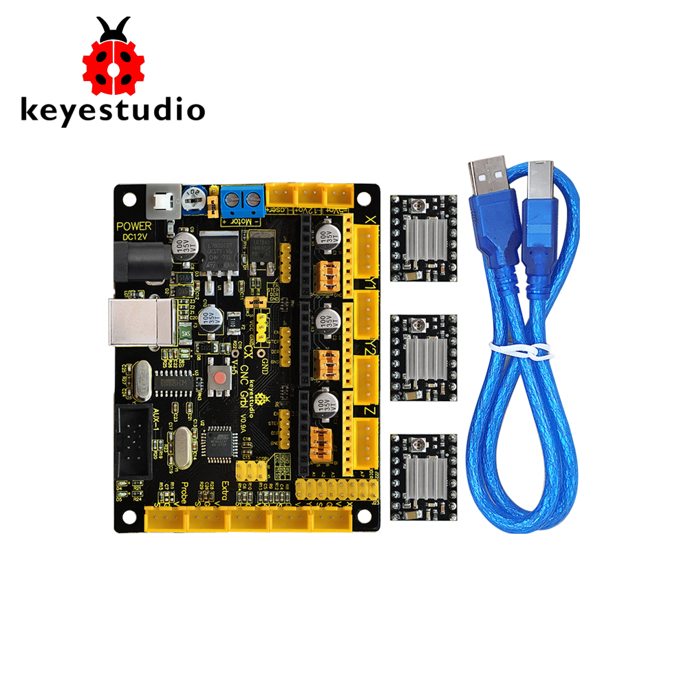 Keyestudio CNC V0.9A board+3pcs 4988 Driver W/Heat Sink + USB cable for arduino CNC/laser engraving machine/writing robots  GRBLKeyestudio CNC V0.9A board+3pcs 4988 Driver W/Heat Sink + USB cable for arduino CNC/laser engraving machine/writing robots  GRBL
