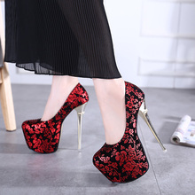 High Heels Shoes 2016 Sexy Flowers Pumps Women Party Shoes Platform Pumps  Women's Wedding Shoes SIZE 34-40