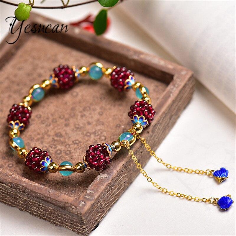 "10 mm vin naturel Rouge Garnet Crystal RONDE pierres précieuses perles Stretch Bracelet 8/"" AAA"
