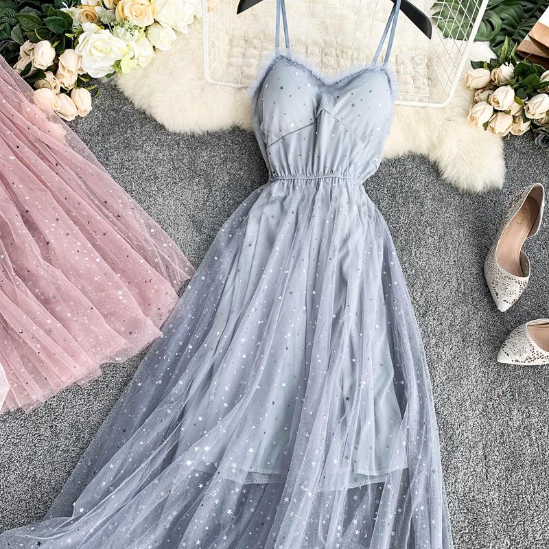Sequins V-Neck Gauze Ruffles Mesh A-Line Dress 14
