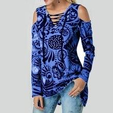цена Spring Female T-shirt Slim V-neck Print Long-sleeved Top Eyelet Straps Off-shoulder Tees Women Autumn Casual Large size T-shirts