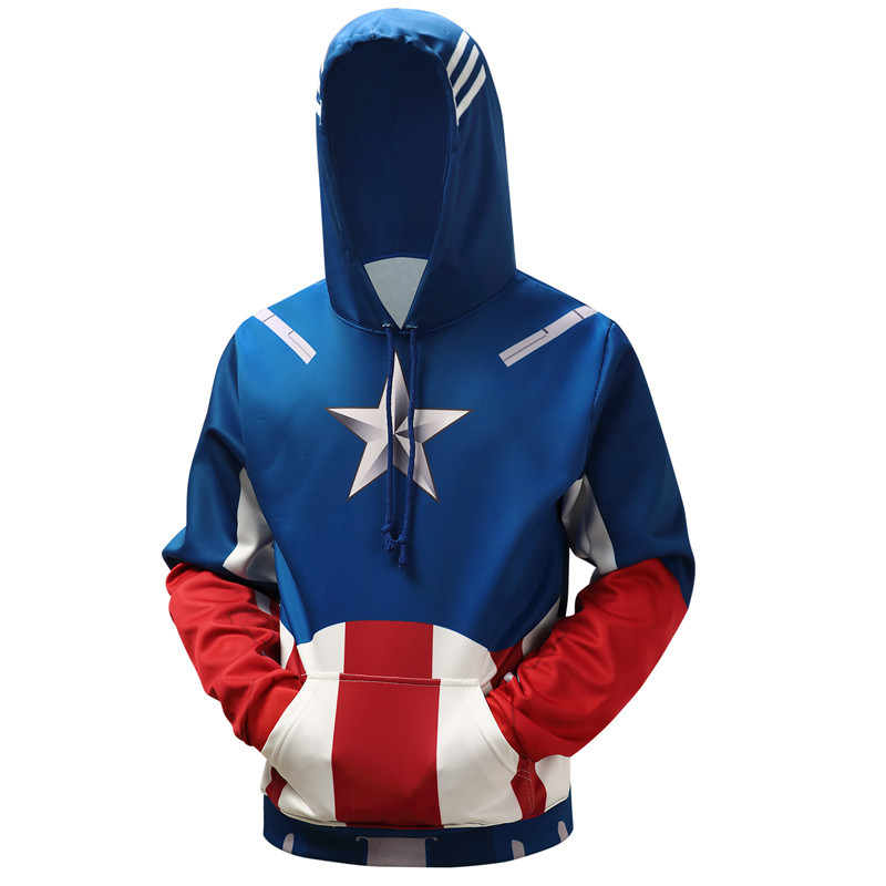 Captain America 3d superman star print hoodie, loose-fitting hoodie size baseball suit s-6xl