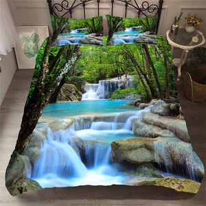 Image 1 - Bedding Set 3D Printed Duvet Cover Bed Set Forest waterfall Home Textiles for Adults Bedclothes with Pillowcase #SL09
