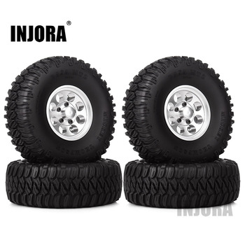 "INJORA 4Pcs 1.55"" Aluminum Wheel Tires 1.55 Inch Tyre for RC Crawler Car D90 TF2 Tamiya CC01 MST JIMNY Axial AX90069 2"