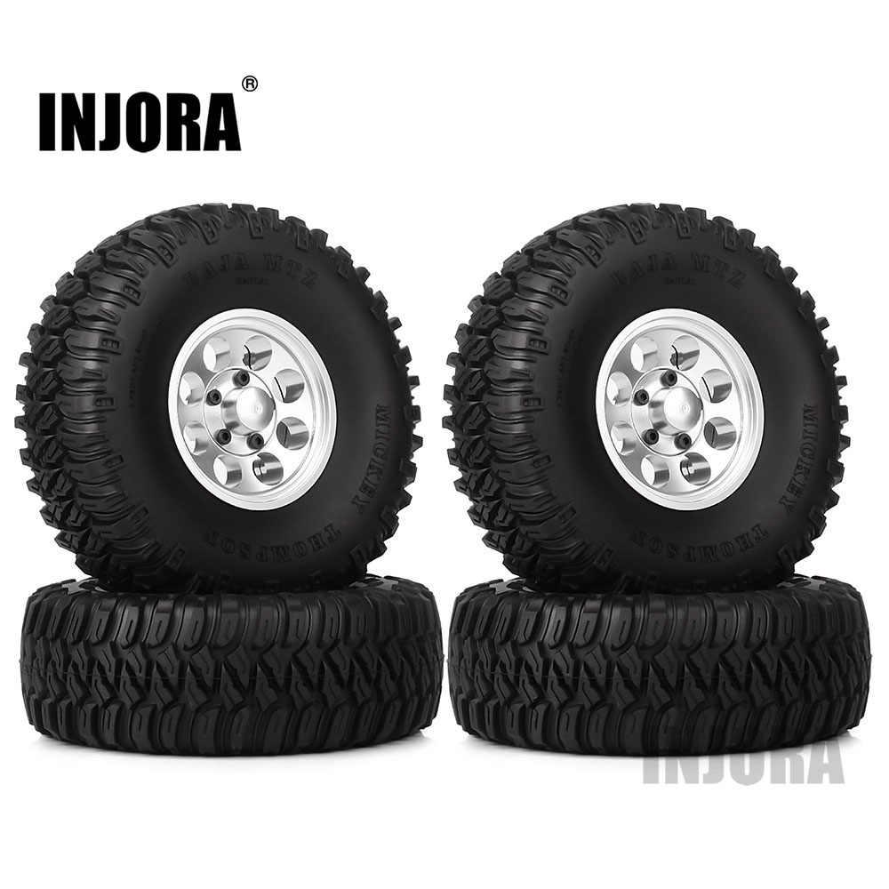"INJORA 4 Stuks 1.55 ""Aluminium Wiel Banden 1.55 Inch Tyre voor RC Crawler Auto D90 TF2 Tamiya CC01 MST JIMNY Axiale AX90069"