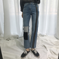 2018 Hong Kong Style Relaxed Loose Zipper Jeans Women S High Waist Was Thin Trousers Straight