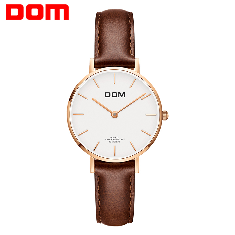 DOM Women Quartz Watches Top Brand Luxury Watches Fashion Casual Waterproof Wrist Watch Ladies Dress Leather Relojes G-36GL-7M1