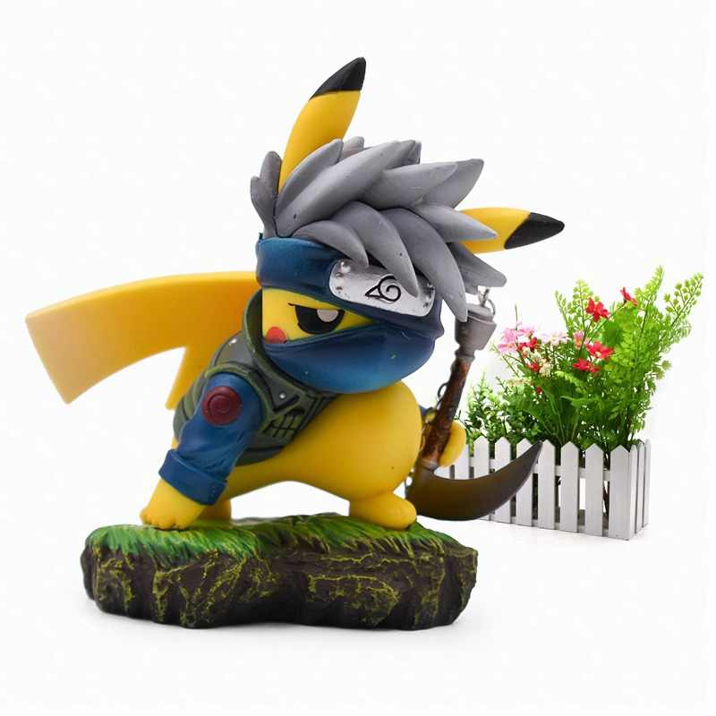 Anime Cartoon Pikachu Kakashi Cosplay Hatake Kakashi Naruto Action Figure PVC Figurine Collectible Model Christmas Gift Toy 11cm