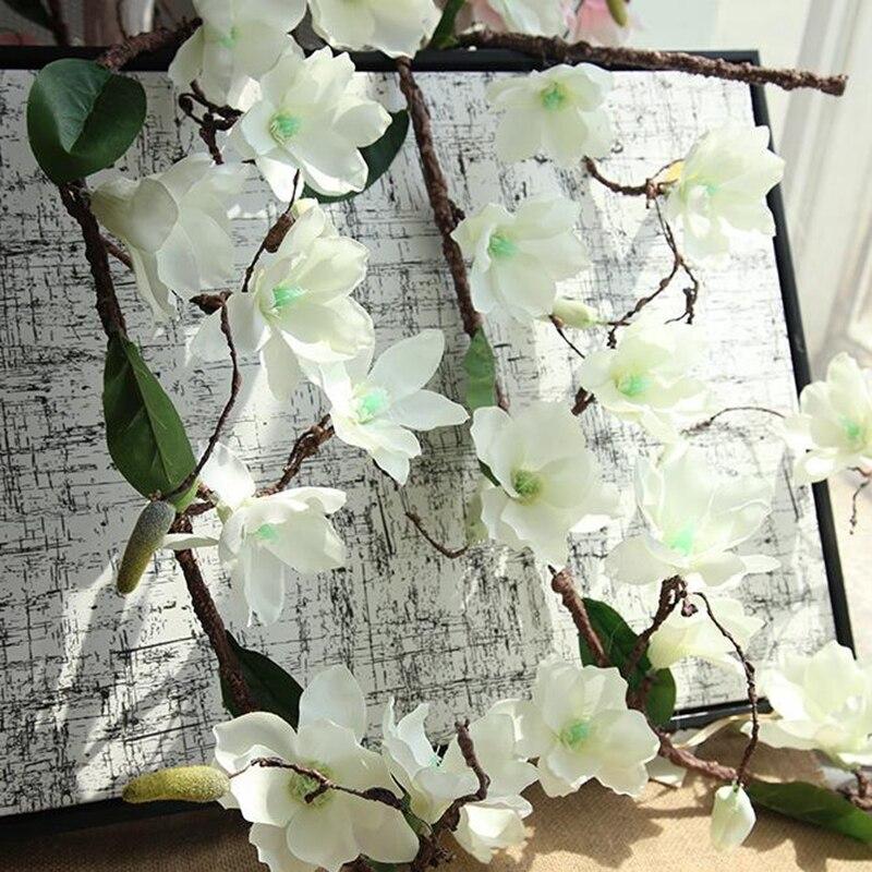 10 Pcs Aritificial Guirlanda Videira Magnolia Flor Galhos de Árvores Parede Orquídea Orquídea Flores De Seda Decoração Do Casamento Da Videira Videiras - 5