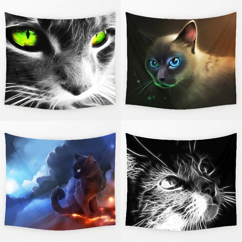 Comwarm 3D Creative Cool Cats Série Motif Polyester Tapisserie Animal Imprimé Tenture Murale Gobelin Salon Décor À La Maison
