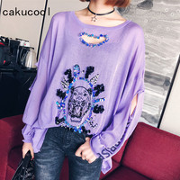 Cakucool Beading Loose Knit Tshirt Women Sequins Shiny Long Sleeve Hollow Out Tiger Letters Pull Tee Top Jumper Korea Femme Plus