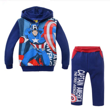 New Boys Clothes Units Cartoon Captain America Cotton Winter Heat Full Sleeve Hoodies Coat + Pants Children Garments Set Swimsuit