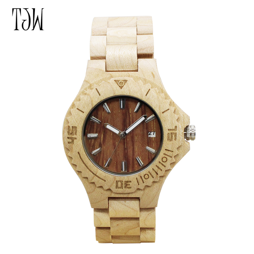 TJW BWE2017 Luxury Brand Wood Watch Men Analog Natural Movement Date Male Wristwatches Clock Relogio Masculino  бетоносмеситель beele bwe 150kj