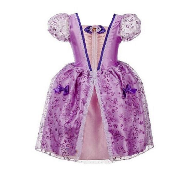 Высокое качество принцесса софия платья софия первый для детей для детей малыш девушка ну вечеринку платье одежда