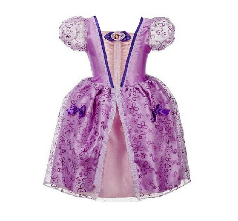 Top quality princess sofia dresses sofia the first costume for children kids baby toddler girl party dress formal clothing free shipping 2016 summer kids girl dress princess dresses cartoon the black cat costume children toddler clothes top sale