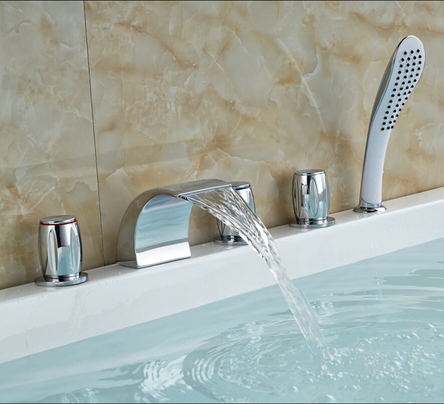 Aliexpress.com : Buy Luxury 3 Color Changing LED Waterfall Bathroom Tub  Faucet Deck Mount Bath Shower Mixer Tap ABS Handshower From Reliable Tap  Bathroom ...