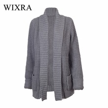 Wixra Warm and Charm 2017 Long Women Cardigans Autumn Winter Brand Rib Knitted with Pockets Sweaters Winter Outwear Coats