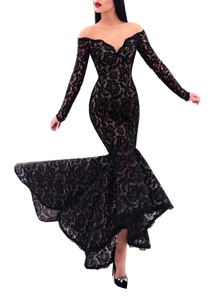 Abendkleide Sexy noir dentelle robe de soirée manches longues 2019 sirène pure Scoop femmes formelle fête robes de soirée robe de bal