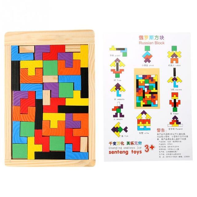 3D деревянные пазлы Tangram Пазлы настольные игрушки Пазлы для детей Развивающие детские игрушки деревянные подарки