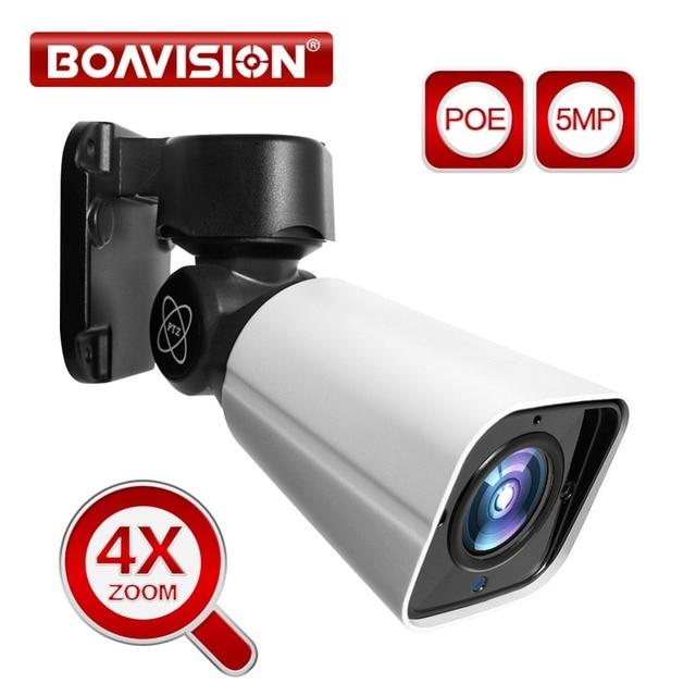 4X Zoom 5MP PTZ IP kamera açık 2592*1944 48V POE PTZ Bullet kamera su geçirmez IP66 IR 50M CCTV güvenlik kamera IOS Android