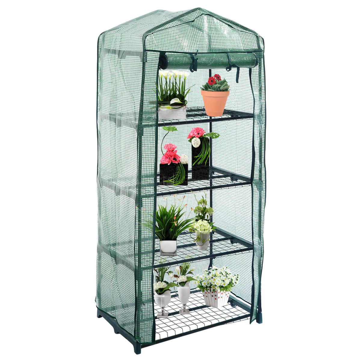 practical 4 tier outdoor garden greenhouse grow cold frame wshelving reinforced cvers